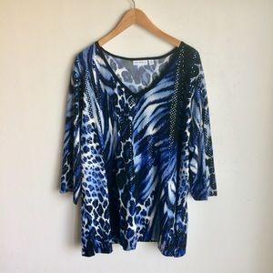 Susan Graver Sequin Blue Animal Print Top Size 3X